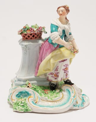 Unrecorded Derby figure of a lady with flowers, C. 1765 -0