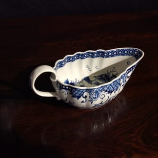 Worcester shallow fluted form sauce boat, Full Moon pattern, c.1775 -0