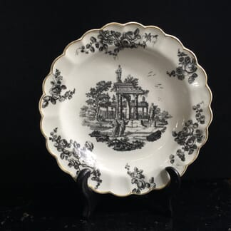 Worcester lobed rim plate with black print of ruins, c.1775 -0