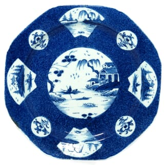 Bow octagonal plate with powder blue ground, C.1775 -0