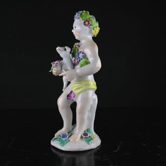 Bow figure of a girl with a puppy, C. 1765 -0