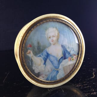 Ivory box, with miniature in the 18th century style, 19th century -0