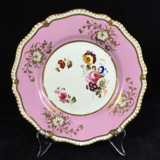 Daniel plate with pink ground, flowers, pat. 3912, c. 1822-0