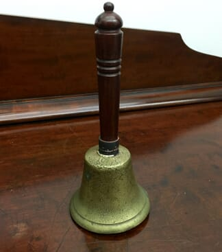 19th Century brass handbell with turned wooden handle -0