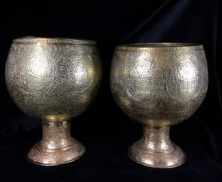 Pair of large Indian brass vases, engraved paisley pattern, 19th c.-0