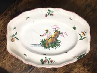 French faience oval shape serving dish, Chinoiserie fisherman, c.1745-0