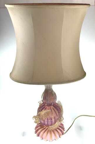 Murano glass lamp in pink with gold specks and applied flowers, mid 20th century-0