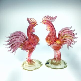 Pair of Murano glass cockerels in pink with gold flecks, Mid 20th century -0