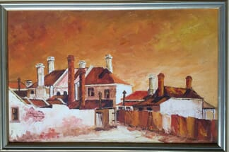 Jean Sims, oil on board, 'Historic Back Yards' 1972-0